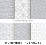 set of six oriental patterns.... | Shutterstock .eps vector #421756768