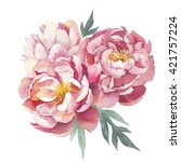 watercolor peonies bouquet... | Shutterstock . vector #421757224