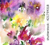 floral background. watercolor... | Shutterstock . vector #421759318