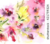 floral background. watercolor... | Shutterstock . vector #421759324