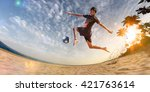 beach soccer player in action.... | Shutterstock . vector #421763614