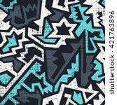 graffiti geometric seamless... | Shutterstock .eps vector #421763896