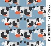 seamless cow pattern  animal... | Shutterstock .eps vector #421764130