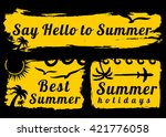 summer style grunge banners.... | Shutterstock .eps vector #421776058