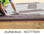 roofer builder worker... | Shutterstock . vector #421777654