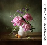 still life with pink peonies... | Shutterstock . vector #421779370