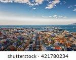 city of reykjavik from above ... | Shutterstock . vector #421780234