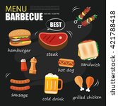 barbecue menu party. bbq... | Shutterstock .eps vector #421788418