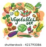 vegetables watercolor set with... | Shutterstock .eps vector #421793386