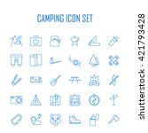 camping icons. outdoor... | Shutterstock .eps vector #421793428