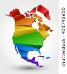 colorful map of north america.... | Shutterstock .eps vector #421793650
