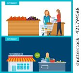supermarket store concept with... | Shutterstock .eps vector #421794568