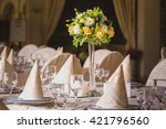 beautiful flowers on table in... | Shutterstock . vector #421796560