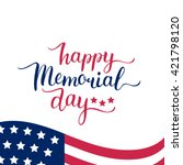 vector happy memorial day card. ... | Shutterstock .eps vector #421798120