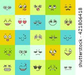 hand drawn set of emoticons.... | Shutterstock .eps vector #421806418