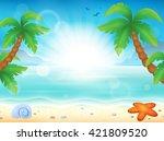 beach theme image 8   eps10... | Shutterstock .eps vector #421809520
