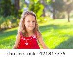 portrait of a funny little girl ... | Shutterstock . vector #421817779