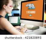 streaming live broadcast media... | Shutterstock . vector #421820893