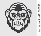 angry ape chimpanzee head logo... | Shutterstock .eps vector #421830739