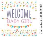 welcome baby girl shower card....   Shutterstock .eps vector #421832800