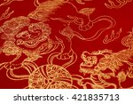 red rice paper with golden... | Shutterstock . vector #421835713