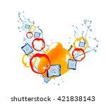 water splash with vegetable... | Shutterstock . vector #421838143