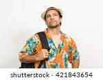 tourist man holding backpack | Shutterstock . vector #421843654
