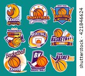 basketball labels | Shutterstock .eps vector #421846624
