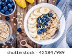 Breakfast  oatmeal with bananas ...