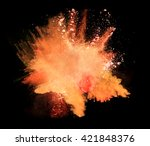 explosion of orange powder on... | Shutterstock . vector #421848376