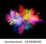 explosion of colored powder on