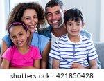 portrait of happy family... | Shutterstock . vector #421850428