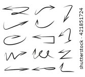 vector set arrows  hand drawn... | Shutterstock .eps vector #421851724