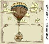 new journey in a balloon | Shutterstock .eps vector #421853626