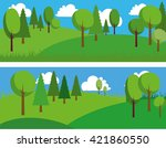 green trees banner. vector... | Shutterstock .eps vector #421860550