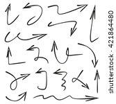 vector set arrows  hand drawn... | Shutterstock .eps vector #421864480