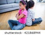 upset siblings ignoring each... | Shutterstock . vector #421868944