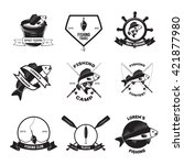 set of vintage fishing labels ... | Shutterstock .eps vector #421877980