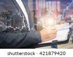 double exposure of business... | Shutterstock . vector #421879420