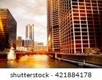 urban scene at chicago river | Shutterstock . vector #421884178