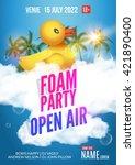 foam party summer open air.... | Shutterstock .eps vector #421890400