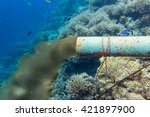 underwater sewer pipe in coral... | Shutterstock . vector #421897900