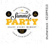 summer party lettering. vector... | Shutterstock .eps vector #421899313