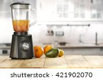 blender and fruits and kitchen... | Shutterstock . vector #421902070