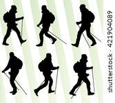 man hiking adventure nordic... | Shutterstock .eps vector #421904089