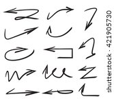 vector set arrows  hand drawn... | Shutterstock .eps vector #421905730