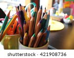 assortment of colored pencils... | Shutterstock . vector #421908736