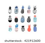 collection of cute pineapples... | Shutterstock .eps vector #421912600
