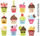 set of cupcake smileys. raster... | Shutterstock . vector #421917646