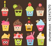 set of cute cupcakes. raster... | Shutterstock . vector #421917670